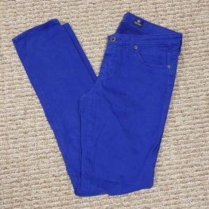 AG the stilt cigarette jean in bright blue, 28R